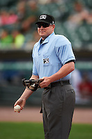 Umpire Sean Barber before a game between the Rochester Red Wings and Pawtucket Red Sox on July 1, 2015 at Frontier Field in Rochester, New York.  Rochester defeated Pawtucket 8-4.  (Mike Janes/Four Seam Images)