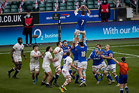 13th February 2021; Twickenham, London, England; International Rugby, Six Nations, England versus Italy; Johan Meyer of Italy wins a line out