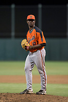 AZL Giants Orange relief pitcher Yoel Veras (67) prepares to deliver a pitch during an Arizona League game against the AZL Athletics at Lew Wolff Training Complex on June 25, 2018 in Mesa, Arizona. AZL Giants Orange defeated the AZL Athletics 7-5. (Zachary Lucy/Four Seam Images)