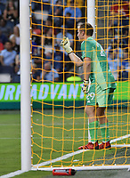 KANSAS CITY, KS - SEPTEMBER 11: Tim Melia #29 of Sporting Kansas City directs his wall during a game between Chicago Fire FC and Sporting Kansas City at Children's Mercy Park on September 11, 2021 in Kansas City, Kansas.