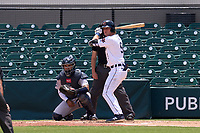 Lakeland Flying Tigers Kingston Liniak (9) bats in front of catcher Carlos Narvaez (5) during a game against the Tampa Tarpons on May 16, 2021 at Joker Marchant Stadium in Lakeland, Florida.  (Mike Janes/Four Seam Images)