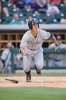 Zach Walters (6) of the Columbus Clippers starts down the first base line during the game against the Charlotte Knights at BB&T BallPark on May 27, 2015 in Charlotte, North Carolina.  The Clippers defeated the Knights 9-3.  (Brian Westerholt/Four Seam Images)