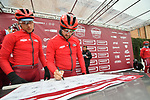 Team Katusha Alpecin riders at sign on before the start of the 2018 Strade Bianche NamedSport race running 184km from Siena to Siena, Italy. 3rd March 2018.<br /> Picture: LaPresse/Massimo Paolone | Cyclefile<br /> <br /> <br /> All photos usage must carry mandatory copyright credit (© Cyclefile | LaPresse/Massimo Paolone)
