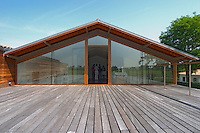 The tasting and reception room with a big wooden terrace Chateau Paloumey Haut-Medoc Ludon Medoc Bordeaux Gironde Aquitaine France