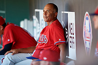 Philadelphia Phillies Rob Ducey in the dugout during a Florida Instructional League game against the Toronto Blue Jays on September 24, 2018 at Spectrum Field in Clearwater, Florida.  (Mike Janes/Four Seam Images)