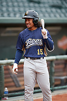 Burlington Bees center fielder Jahmai Jones (15) gets ready to hit before a game against the Great Lakes Loons on May 4, 2017 at Dow Diamond in Midland, Michigan.  Great Lakes defeated Burlington 2-1.  (Mike Janes/Four Seam Images)