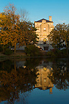 The Memorial Union is reflected in Lake LaVerne on the campus of Iowa State University in Ames, Iowa. (Christopher Gannon/Gannon Visuals)