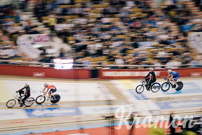 Iljo Keisse (BEL/Deceuninck-QuickStep) chasing Jasper de Buyst (BEL/Lotto-Soudal) in the derny race<br /> <br /> Lotto 6daagse Vlaanderen-Gent 2018 / Gent6<br /> day 5