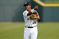 First baseman Felix Familia (24) of the Columbia Fireflies before a game against the Charleston RiverDogs on Tuesday, May 11, 2021, at Segra Park in Columbia, South Carolina. (Tom Priddy/Four Seam Images)