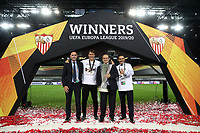 21st August 2020, Rheinenergiestadion, Cologne, Germany; Europa League Cup final Sevilla versus Inter Milan;  (L-R) Ramon Rodriguez Verdejo, Director of Football at Seville, Julen Lopetegui, Head Coach of Sevilla FC, Jose Castro Carmona, President of Seville and Jose Maria del Nido Carrasco, Vice President of Seville pose for a photo with the UEFA Europa League Trophy