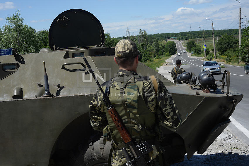Members of Russian Orthodox Army seen at one of the checkpoints south-east of Donetsk.