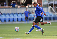 SAN JOSE, CA - MAY 15: Cade Cowell #44 of the San Jose Earthquakes warming up before a game between Portland Timbers and San Jose Earthquakes at PayPal Park on May 15, 2021 in San Jose, California.