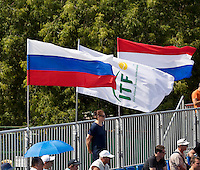 Moscow, Russia, 16 th July, 2016, Tennis,  Davis Cup Russia-Netherlands, Russia-ITF and Dutch flaggs<br /> Photo: Henk Koster/tennisimages.com