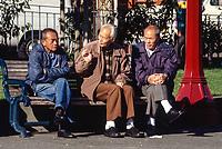 San Francisco, California, Chinatown. Chinese Men Talking, Portsmouth Square.