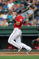 Left fielder Zach Kapstein (40) of the Greenville Drive bats in a game against the Augusta GreenJackets on Friday, July 11, 2014, at Fluor Field at the West End in Greenville, South Carolina. Greenville won, 7-6. (Tom Priddy/Four Seam Images)