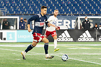 FOXBOROUGH, MA - OCTOBER 16: Collin Verfurth brings the ball forward during a game between North Texas SC and New England Revolution II at Gillette Stadium on October 16, 2020 in Foxborough, Massachusetts.