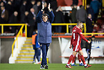 Aberdeen v St Johnstone…..05.02.20   Pittodrie   SPFL<br />St Johnstone manager Tommy Wright applauds the saints fans at full time<br />Picture by Graeme Hart.<br />Copyright Perthshire Picture Agency<br />Tel: 01738 623350  Mobile: 07990 594431