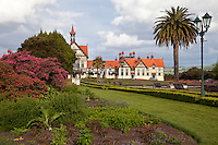 Government Gardens, Museum (former spa) in the Background.  Rotorua, north island, New Zealand.