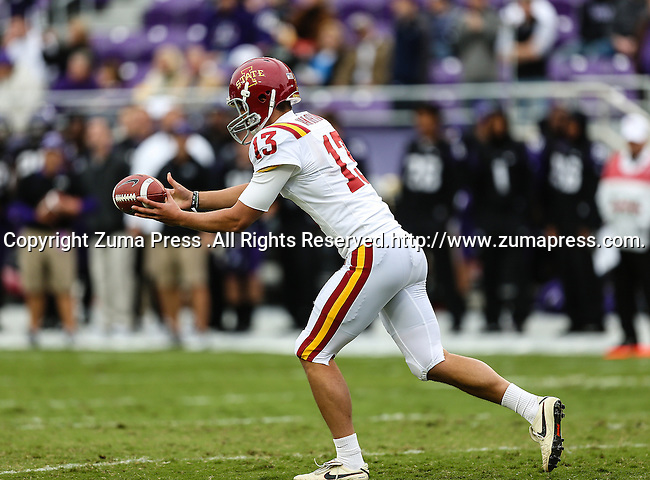 Iowa State Cyclones punter Kirby Van Der Kamp (13) in action during the game between the Iowa State Cyclones and the TCU Horned Frogs  at the Amon G. Carter Stadium in Fort Worth, Texas. Iowa State defeats TCU 37 to 23.