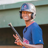 24 August 2016: Lowell Spinners outfielder and Baseball America Top Prospect Yoan Aybar warms up prior to a game against the Vermont Lake Monsters at Centennial Field in Burlington, Vermont. The Lake Monsters defeated the Spinners 5-3 in NY Penn League action. Mandatory Credit: Ed Wolfstein Photo *** RAW (NEF) Image File Available ***