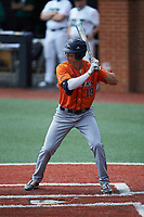 Leyton Barry (19) of the UTSA Roadrunners at bat against the Charlotte 49ers at Hayes Stadium on April 18, 2021 in Charlotte, North Carolina. (Brian Westerholt/Four Seam Images)