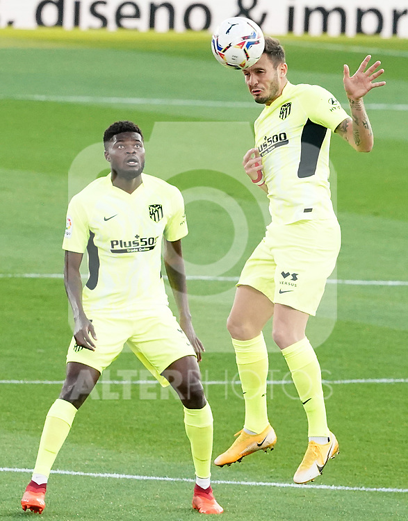 Atletico de Madrid's Thomas Partey (l) and Saul Niguez during La Liga match. September 30,2020. (ALTERPHOTOS/Acero)