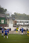 Ramsbottom United 1 Barwell 3, 03/10/2015. Riverside Stadium, Northern Premier League. Home team supporters watching the second-half action at the Harry Williams Riverside Stadium, home to Ramsbottom United (in blue) as they played Barwell in a Northern Premier League premier division match. This was the club's 13th league game of the season and they were still to record their first victory following a 3-1 defeat, watched by a crowd of 176. Rams bottom United were formed by Harry Williams, the current chairman, in 1966 and progressed from local amateur football  in Bury to the semi-professional leagues. Photo by Colin McPherson.