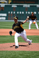 Pittsburgh Pirates pitcher Tony Watson (44) during a Spring Training game against the Minnesota Twins on March 13, 2015 at McKechnie Field in Bradenton, Florida.  Minnesota defeated Pittsburgh 8-3.  (Mike Janes/Four Seam Images)