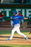 Brandon Wulff (34) of the Ogden Raptors at bat against the Orem Owlz at Lindquist Field on July 27, 2019 in Ogden, Utah. The Raptors defeated the Owlz 14-1. (Stephen Smith/Four Seam Images)