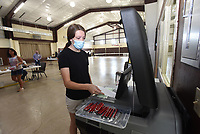 Rylie Hickman casts her ballot on Tuesday Sept. 14 2021 in the Pea Ridge sales tax election at First Baptist Church in Pea Ridge. Go to nwaonline.com/210915Daily/ to see more photos.<br />(NWA Democrat-Gazette/Flip Putthoff)