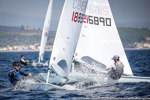 Finn Lynch on port tack at Italian Olympic Week this month