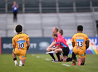 31st August 2020; Recreation Ground, Bath, Somerset, England; English Premiership Rugby, Bath versus Wasps; players of both teams and the officials kneel before kick off in tribute to BLM