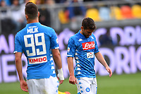 Arkadiusz Milik and Dries Mertens of Napoli react during the Serie A 2018/2019 football match between Frosinone and SSC Napoli at stadio Benito Stirpe, Frosinone, April 28, 2019 <br /> Photo Andrea Staccioli / Insidefoto