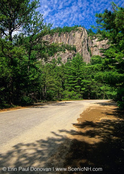 Scenic view of Cathedral Ledge from along Cathedral Ledge Road in North Conway, New Hampshire. This road leads to the top of the ledge, and Cathedral Ledge is a popular rock climbing location in the state of New Hampshire.