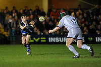 Tom Heathcote of Bath Rugby receives the ball during the LV= Cup semi final match between Bath Rugby and Leicester Tigers at The Recreation Ground, Bath (Photo by Rob Munro, Fotosports International)