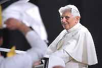 Pope Benedict XVI addresses some 70,000 youths of dioceses of Rome and Lazio in Saint Peter's square, at the Vatican, late 25 March 2010, during an event to mark the 25th anniversary of the first Youth World Day.