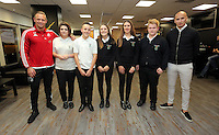 Pictured: Lee Trundle and Jonjo Shelvey pose with pupils from Llangatwck Community SchoolWednesday 25 November 2015<br /> Re: Schools take part in this year's Premier League Enterprise vent at Penderyn Suite, Liberty Stadium, Swansea, UK