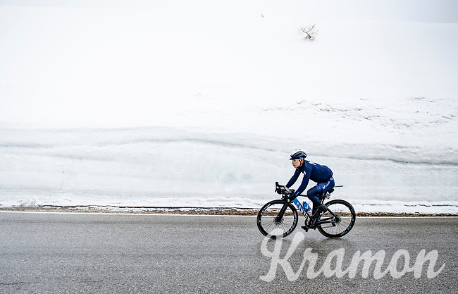 Einer Augusto Rubio (COL/Movistar) coming over the Passo Giau<br /> <br /> due to the bad weather conditions the stage was shortened (on the raceday) to 153km and the Passo Giau became this years Cima Coppi (highest point of the Giro).<br /> <br /> 104th Giro d'Italia 2021 (2.UWT)<br /> Stage 16 from Sacile to Cortina d'Ampezzo (shortened from 212km to 153km)<br /> <br /> ©kramon