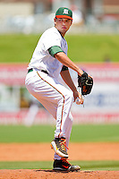 Miami Hurricanes relief pitcher Christian Diaz #18 in action against the Georgia Tech Yellow Jackets at the 2012 ACC Baseball Championship at NewBridge Bank Park on May 27, 2012 in Winston-Salem, North Carolina.  The Yellow Jackets defeated the Hurricanes 8-5.  (Brian Westerholt/Four Seam Images)