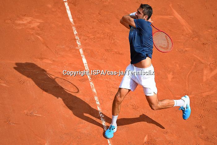 Marin Cilic in his match with Roger Federer