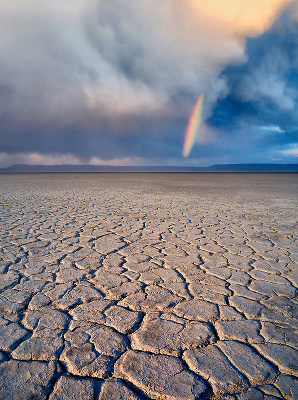 Alvord Desert with rainbow. Harney County, Oregon.