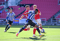 27th September 2020; Ashton Gate Stadium, Bristol, England; English Football League Championship Football, Bristol City versus Sheffield Wednesday;  Fisayo Dele-Bashiru of Sheffield Wednesday competes for the ball with Alfie Mawson of Bristol City