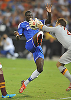Demba Ba (19) of Chelsea FC goes against Morgan de Sanctis (26) of AS Roma.  Chelsea FC defeated AS Roma 2-1, during an international friendly , at RFK Stadium, Saturday August 10 , 2013.