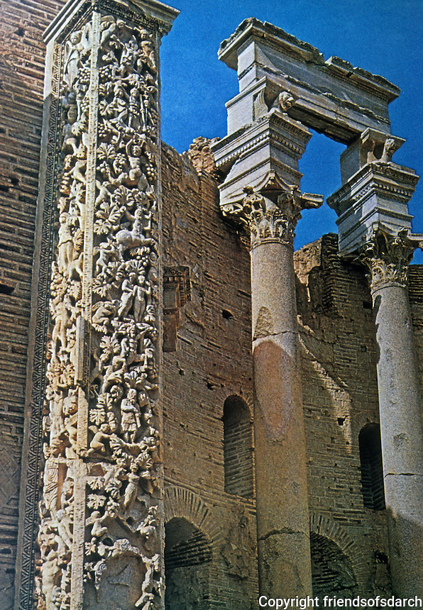 Italy: Rome--Leptis Magna, Severan Basilica, West Apse. Pilaster with reliefs portraying legends. Photo '82.