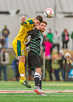 15 November 2015: Binghamton University Bearcat Forward/Midfielder Pascal Trappe, from Berlin, Germany, battles University of Vermont Catamount Defender Arthur Bacquet, a Sophomore from Bruxelles, Belgium, at Virtue Field in Burlington, Vermont. The Bearcats fell to the Catamounts 1-0 in the America East Championship Game. Mandatory Credit: Ed Wolfstein Photo *** RAW (NEF) Image File Available ***
