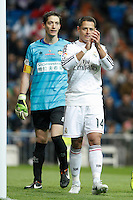 Real Madrid´s Chicharito (R) and Cornella´s goalkeeper Inigo during Spanish King Cup match between Real Madrid and Cornella at Santiago Bernabeu stadium in Madrid, Spain.December 2, 2014. (NortePhoto/ALTERPHOTOS/Victor Blanco)