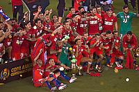 Action photo during the match Argentina vs Chile corresponding to the Final of America Cup Centenary 2016, at MetLife Stadium.<br /> <br /> Foto durante al partido Argentina vs Chile cprresponidente a la Final de la Copa America Centenario USA 2016 en el Estadio MetLife , en la foto:Chile Campeon<br /> <br /> <br /> 26/06/2016/MEXSPORT/JAVIER RAMIREZ