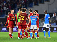 Calcio, Serie A: AS Roma vs SSC Napoli, Olympic stadium, October 24, 2021.<br /> Roma's players greet Napoli's players at the end of the Italian Serie A football match between Roma and Napoli at Rome's Olympic stadium, on , October 24, 2021. <br /> UPDATE IMAGES PRESS/Isabella Bonotto