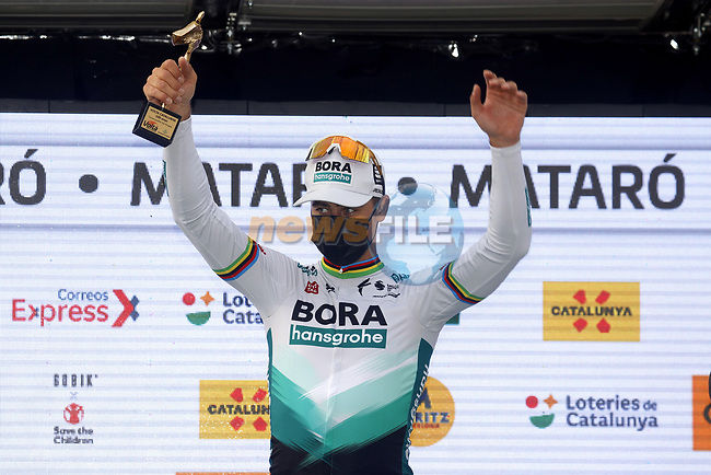 Peter Sagan (SVK) Bora-Hansgrohe wins Stage 6 of the 100th edition of the Volta Ciclista a Catalunya 2021, running 193.8km from Tarragona to Mataro', Spain. 27th March 2021.   <br /> Picture: Bora-Hansgrohe/Luis Angel Gomez/BettiniPhoto | Cyclefile<br /> <br /> All photos usage must carry mandatory copyright credit (© Cyclefile | Bora-Hansgrohe/Luis Angel Gomez/BettiniPhoto)