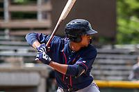 Cedar Rapids Kernels shortstop Wander Javier (15) at bat during a Midwest League game against the Beloit Snappers on June 2, 2019 at Pohlman Field in Beloit, Wisconsin. Beloit defeated Cedar Rapids 6-1. (Brad Krause/Four Seam Images)